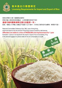 Poster on Licensing Requirements for Import and Export of Rice
