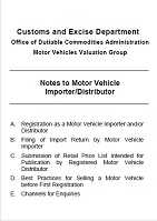 Pamphlet of Notes to Motor Vehicle Importer/Distributor