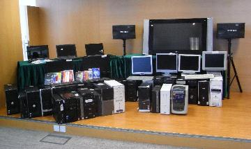 The seized computers installed with pirated software.